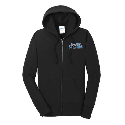 ladies fleece full-zip hooded sweatshirt black