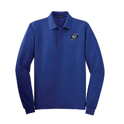 mens long sleeve polo blue