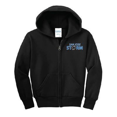 youth fleece full-zip hooded sweatshirt black
