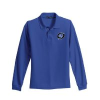 youth long sleeve polo blue